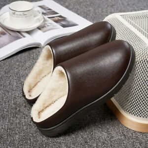 Winter Warm Fleece Lined Flat Shoes Men Faux Leather Round-Toe Non-Slip Slippers