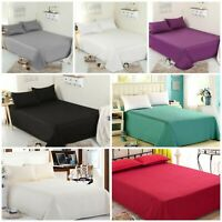LUXURIOUS FULL FLAT BED SHEETS 100% POLY COTTON IN SINGLE DOUBLE KING SIZES