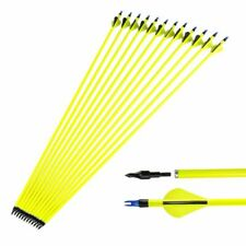 "12 Pcs 30"" Archery Carbon Arrows Sp500 Yellow For Compound/Recurve Bow Hunting"