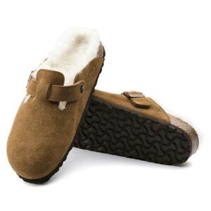 New Men's BIRKENSTOCK Mink Boston Shearling Suede Leather Sandals Size 9/EUR42