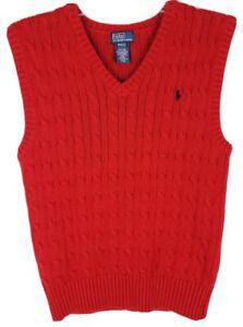 Ralph Lauren Boys Medium (10-12) Solid Red Knit Sweater Vest Sleeveless
