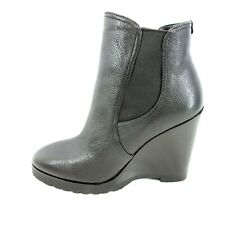 Michael Kors Women's Shoes Ankle Boots Thea Wedge Black Leather Np 195 New