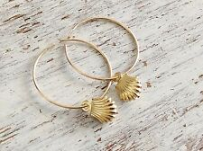 14k Yellow Gold Plated Shell Hoop Earrings - 20051
