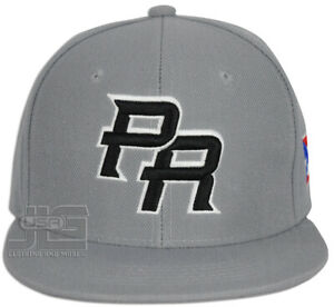 PR Fitted Caps Puerto Rico Embroidered hat Front Side Baseball Size Adult New