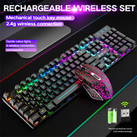 Wireless Gaming Keyboard and Mouse Combo with LED Backlit Rechargeablle UK