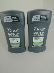 Dove Men+Care Antiperspirant Deodorant Stick Stain Defense Fresh 2.7 oz Lot of 2