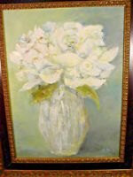 Katherine Zuill Oil Painting Still Life White Flowers in Vase 16 x 14 Dated 1999
