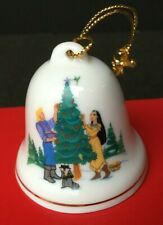"Grolier Disney POCAHONTAS 1997 Christmas Bell Ornament  2"" Porcelain Gold Trim"