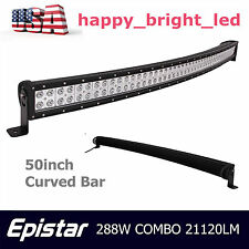 50inch 288W Curved LED Work Light Bar Epistar S/F Combo Offroad Driving Vehicle