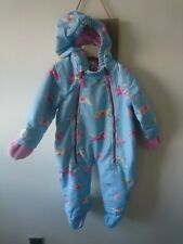 Joules baby girl light blue pony snowsuit 12-18 months