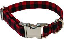 Metal Buckle Red Buffalo Check Dog Collar black gingham plaid winter puppy xmas