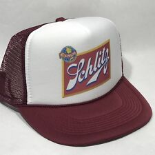 81df343a8e1 Schlitz Beer Trucker Hat Mesh Vintage 80 s Brewery Snapback Party Cap Maroon