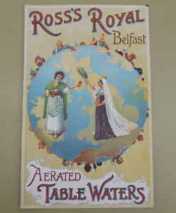 ANTIQUE ROSS'S ROYAL BELFAST TABLE WATERS ADVERT~VICTORIAN BRITISH COLONIALISM