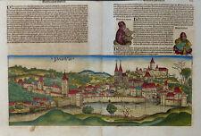 BAYERN PASSAU PATAVIA SCHEDEL WELTCHRONIK INKUNABEL STADTANSICHT KOBERGER 1493