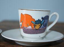 Set of 4 Kahla Child Size tea cups saucers; Orange Elephant, blue sheep, bear