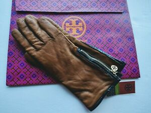 NWT- NWT TORY BURCH Circle Logo Leather Gloves Brown Luggage size 7