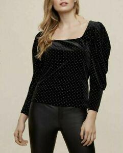 Ex Dorothy Perkins CURVE BRAND NEW Black Velvet Stud Blouse Top Size 18 - 28