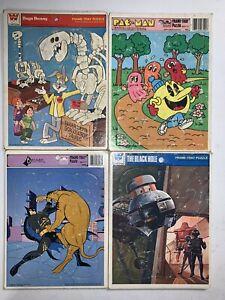 4 Piece Lot! 1979-93 Bugs Bunny BlackHole PacMan & BatMan Whitman Frame Puzzles