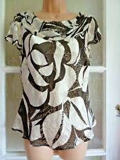 ALEX & CO GLEAMING SILK MIX DEVOREE TOP CLASSIC IVORY & BROWN COWL DRAPE NECK 12
