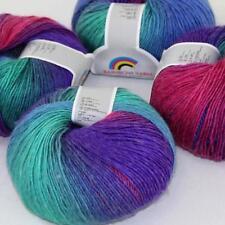 Sale DIY 4Ballsx50g Soft Cashmere Wool Colorful Rainbow Shawl Hand Knit Yarn 14