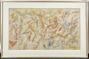 Original 1968 Domenick Turturro Abstract Pastel & Graphite Signed Work on Paper