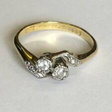 Antique Solid 18ct Gold Platinum Set Diamond Two Stone Twist Ring Size M
