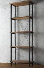 Bookcase Industrial Office Bookshelf Reclaim Wood Rustic Metal Display Solid