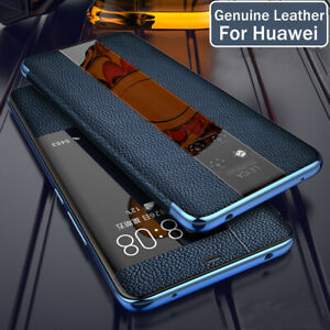 Genuine Leather Flip Cover for Huawei Mate 20 P20 P30 Pro Smart Window View Case