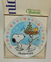 Vintage Schmid Peanuts Snoopy & Woodstock 1976 Christmas Plate w/ Box