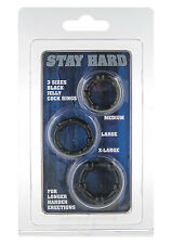 Stay Hard Penis Ring Set 3 Rings Erection Impotence Sex Love Aid Sleeve Cage