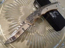 Master Collection Ballistic Assisted Elite Fancy White Pearl Pocket Knife A006S