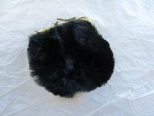 Vintage1960s/ 1970s Unbranded Used Black Faux Fur Purse