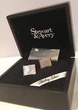NIB Solid Sterling Silver Cuff Links Horseshoe Design In Wood Box Cufflinks NEW!