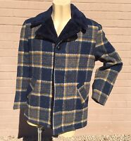 Silton California VTG Jacket Mens S M Coat Blue Copper Plaid Hipster Rockabilly
