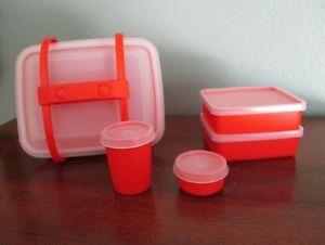 Tupperware Kids Pack N Carry #1513 Lunch Box #1513 - Paprika Orange - Unused