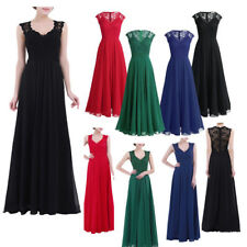 Long Chiffon Lace Evening Formal Party Ball Gown Prom Bridesmaid Maxi Dress UK