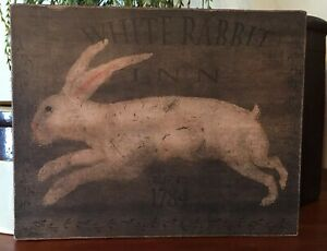 "Primitive Folk Art Easter White Rabbit Inn Bunny Print on Canvas Board 8x10"""