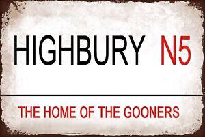 Highbury Arsenal Metal Street Sign Vintage  Football Bar Man Cave Plaque Gooner