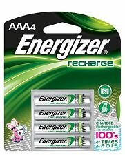 AAA Energizer Rechargeable 4/pack NiMH Batteries, EXP 2021 AAA4 Recharge Power+