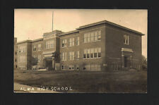 Alma Michigan MI 1914 RPPC Old Alma High School Building, Bicycle by Front Step