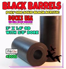 "Duck Call Acrylic SOLID BLACK 3"" X 1.4"" OD Barrel Blank with 5/8"" Bore"