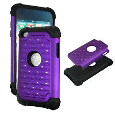 Purple Hybrid Rhinestone silicon Apple iPod Touch 4th gen Cover Case