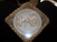 Fancy Vintage 4 Plastic Coaster in Decorative Case with Rhinestones