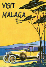 Art Poster Visit Malaga The Spanish Riviera Spain Travel Deco Print