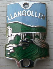 WALKING STICK BADGE WITH PINS - LLANGOLLEN - BRASS CHROMIUM PLATED - BRAND NEW