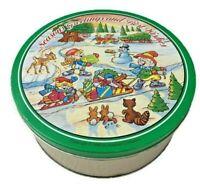 "1990 Keebler Elves Holiday Cookie Tin - 10"" x 4"" - Season's Greetings"