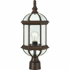 "Nuvo Boxwood 1 Light 19"" Outdoor Post, Clear Glass, Rustic Bronze - 60-4975"