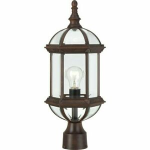 """Nuvo Boxwood 1 Light 19"""" Outdoor Post, Clear Glass, Rustic Bronze - 60-4975"""