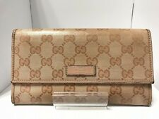 Auth GUCCI Crystal GG 203573 Beige Coated Canvas &  Leather Long Wallet