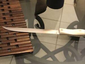 """CUTCO 1729 KA Serrated 7""""Blade 12.5"""" Carving Knife Pearl Handle (White)"""